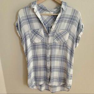 2/$20 White & Purple Plaid Short-Sleeve Shirt